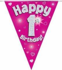Oaktree UK Vlaggenlijn Roze Happy 1st Birthday