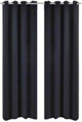 Vidaxl gordijnen met metalen ringen verduisterend 135x175 zwart 2 st
