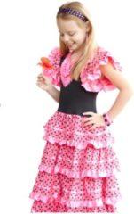 Spaansejurk NL Spaanse jurk roze zwart, maat 12- kledingmaat 140-146) verkleedkleding