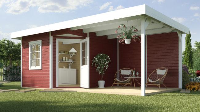 Afbeelding van Rode Blokhut Fides 3 Gr. 1 586 x 278cm rood/wit met aanbouw 300cm