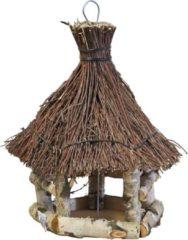 Bruine Gebr. De Boon Voederhuis zeskant berken tenen dak