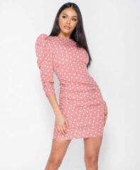Witte Parisian Polka dot puff sleeve ruching detail bodycon dress roze