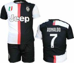Merkloos / Sans marque Juventus Replica Cristiano Ronaldo CR7 Thuis Tenue Voetbalshirt + Broek Set Seizoen 2019/2020 Zwart / Wit, Maat: 116