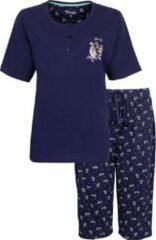 Medaillon Dames Pyjama Drie Kwart Broek Blauw MEPYD1006A Maten: 3XL