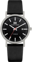 Zilveren Danish Design watches titanium herenhorloge Rhine Black Black Date Medium IQ23Q199