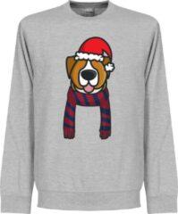 Grijze Retake Christmas Dog Scarf Supporter Kersttrui - Bordeaux/Navy - L