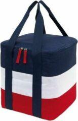 Merkloos / Sans marque Grote koeltas blauw/wit/rood met hengsels - 17 liter - Koeltassen voor onderweg/op het strand