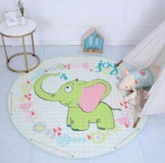 AYME Zacht Speelkleed Baby | Speelkleed Kinderen | Diameter 150cm | 100% Katoen | Baby- of Kinderkamer | Olifant