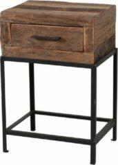 Beige Duverger® Recycled - Nachtkastje - massief gerecycled hout - 1 lade - metalen frame