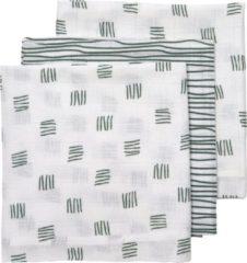 Groene Meyco 3-pack Hydrofiele luiers - Block stripe - forest green