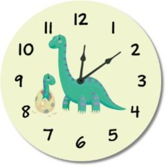 Groene Kinderklok Dino/Dinosaurus geel | STIL UURWERK | dieren wandklok van hout voor kinderkamer en babykamer | decoratie accessoires | jongens en meisjes slaapkamer