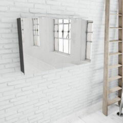 Zaro Beam antraciet spiegelkast 120x70x16cm 2 deuren