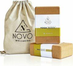 Beige NOVO wellbeing Yoga Blok|100% Kurk|2 stuks met tas|Stabiliteit Grip & Anti-slip|Eco