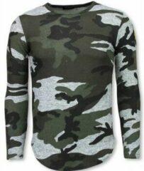 Grijze T-shirt Korte Mouw Berry Denim Leger Print Borduur Shirt - Long Sleeve T-shirt