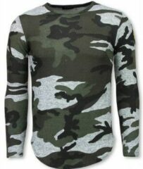 Justing Leger Print Borduur Shirt - Long Sleeve T-shirt - Grijs Leger Print Borduur Shirt - Long Sleeve T-shirt - Grijs Heren T-shirt Maat XL