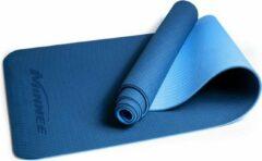 Minnee Sports Comfortabele Anti Slip Yoga Mat | ECO mat van natuurrubber en TPE toplaag | 183 x 61 x 0.6 cm | blauw