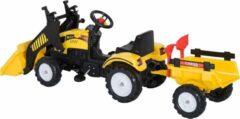 NiceGoodz Traptractor met aanhanger -Tractor speelgoed - Buitenspeelgoed - zwart + geel - 167 x 41 x 52cm