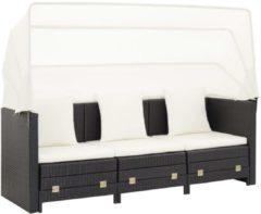 VidaXL Slaapbank met luifel 3-zits verlengbaar poly rattan zwart VDXL 46075