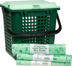BioMat Airbox afvalemmer met gaatjes + 3 rollen composteerbare afvalzakken 10 liter - Groen - Maiszetmeel