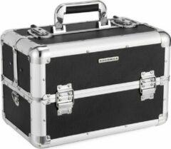 Zilveren NumberOneCompany SONGMICS beautycase XXL groot voor bagage, aluminium multicase tiercase met schouderband 36,5 x 22 x 25 cm, zwart