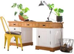 Schreibtisch Weiß Natur Massiv Landhausstil