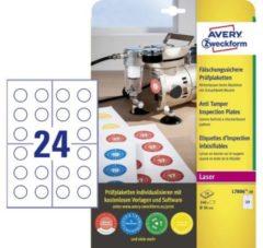Avery fraudebestendige, niet-verwijderbare ronde keuringszegels, 30 mm diameter, 240 stuks, 24 per vel