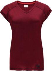 Bordeauxrode Re-Born V Nek T-shirt Kap Mouw Dames - Burgundy - Maat L