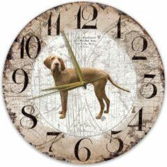 Bruine Creatief Art Houten Klok - 30cm - Hond - Vizsla Draadhaar