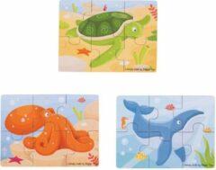 Bigjigs Toys Bigjigs waterdieren puzzel 3 puzzels met zes stukjes
