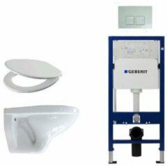 Adema Classico toiletset bestaande uit inbouwreservoir en toiletpot, basic toiletzitting en Delta 50 bedieningsplaat wit SW8445