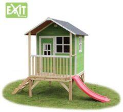 Groene EXIT Loft 300 Speelhuisje met glijbaan laag