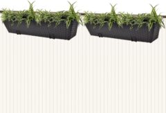 Zwarte VidaXL Trapezium balkon plantenbak 80 cm rattan zwart 2 st