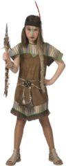Bruine Funny Fashion Indiaan Kostuum | Jonge Squaw Wappo Indiaan Wilde Westen Amerika | Meisje | Maat 140 | Carnaval kostuum | Verkleedkleding