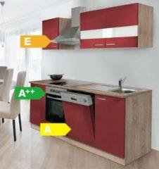 Respekta kitchen economy Respekta Küchenzeile KB220ESRC 220 cm Rot-Eiche Sägerau Nachbildung