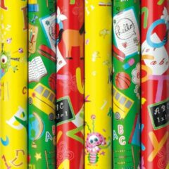 Enper Assortiment luxe cadeaupapier inpakpapier voor kinderen - terug naar school - 200 x 70 cm - 5 rollen