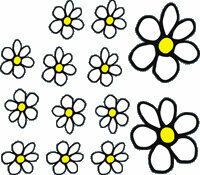 Universeel Sticker Flowers - wit/geel - 13.5x15.5cm