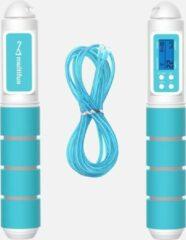 Multifun digitaal springtouw - Springtouw met teller - Wit - Blauw - 2,8 meter - Inclusief klittenband binders – Springtouw volwassene – Springtouw Kinderen
