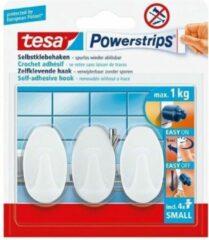 Witte Tesa Powerstrips® haak L metaal rechthoekig