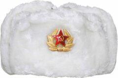 MFH Russische bontmuts, wit, met embleem, MAAT L