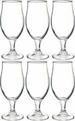 Transparante Bormioli Rocco 6x Stuks luxe bierglazen speciaalbier 375 ml - Bierglazen - Glazen voor speciaalbier