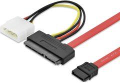 Rode Ednet Harde schijf Aansluitkabel [1x SATA-combi-stekker 15+7-polig - 1x SATA-stekker 7-polig, IDE-stroomstekker 4-polig] 0.50 m Rood