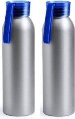 Merkloos / Sans marque 2x Aluminium drinkfles/waterfles met blauwe dop 650 ml - Sportfles - Sportbidon