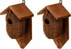 Bruine Decoris 2x stuks houten vogelhuisjes/nestbuidels kokos 26 cm
