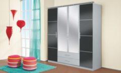 Rauch-PACKs Kleiderschrank 4-trg. in Grau-metallic / Alu gebürstet RAUCH PACKS Micro