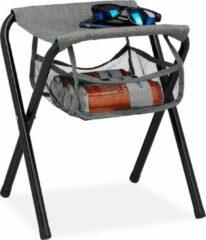 Relaxdays campingkruk opvouwbaar - inklapbaar viskrukje - kampeerkruk - tuinkruk - grijs