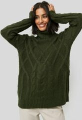 Groene NA-KD Cable Knitted High Neck Sweater - Green