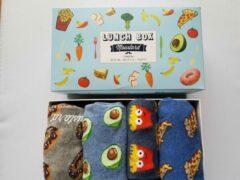 Merkloos / Sans marque Giftbox met 4 lunch afbeeldingen sokken 41-46