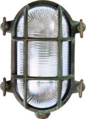 Franssen verlichting Wandlamp bull-eye klein verkoperd messing - zwart/groen