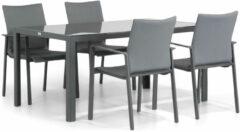 Antraciet-grijze Lifestyle Garden Furniture Lifestyle Rome/Mondello 160 cm dining tuinset 5-delig