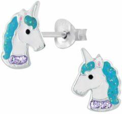 Oorbellen meisje   Kinderoorbellen meisje zilver   Eenhoorn oorbellen   Zilveren oorstekers, eenhoornhoofd met blauwe manen   WeLoveSilver